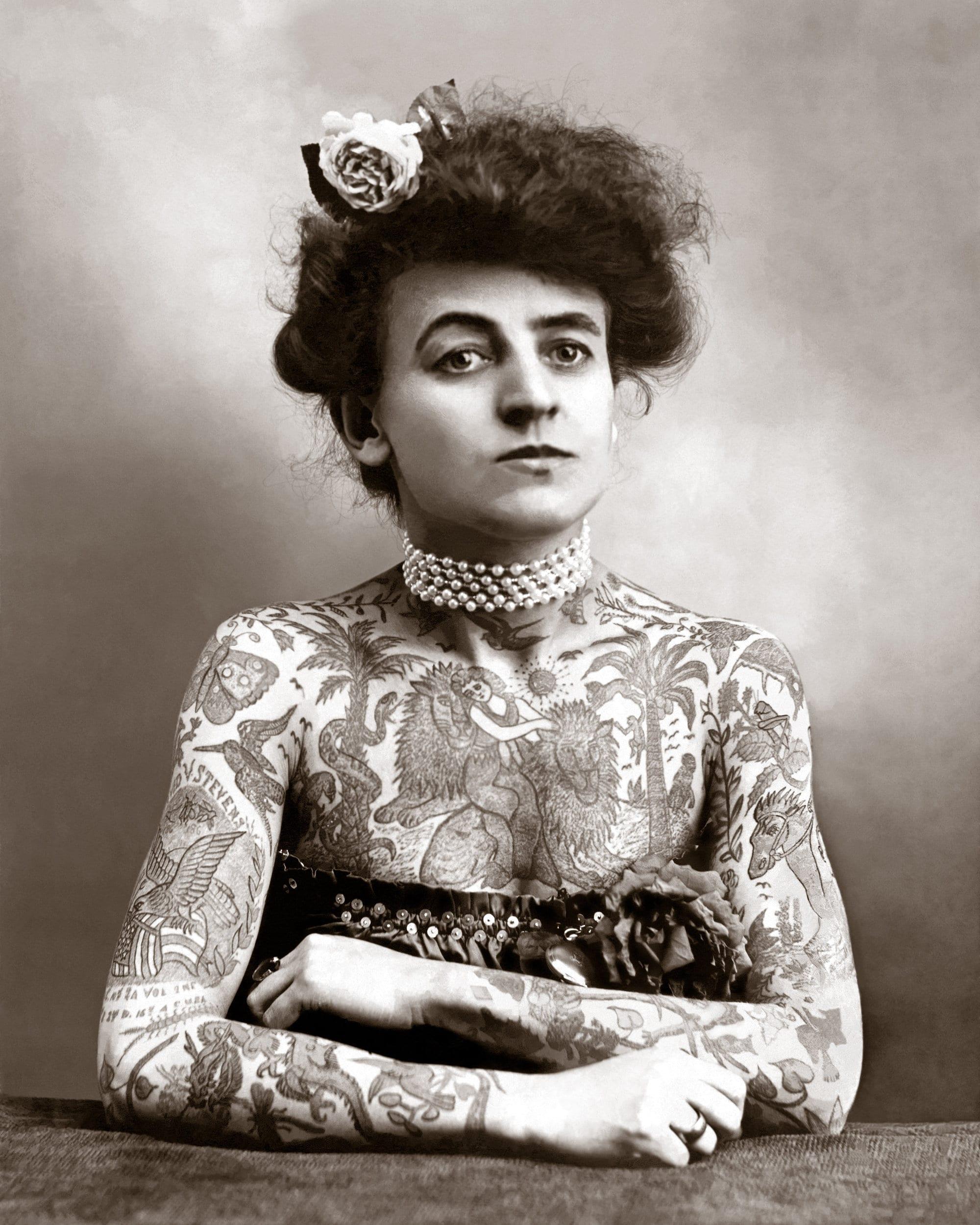 Unframed Poster or Canvas Tattooed Lady Bizarre Strange Weird Vintage Photo