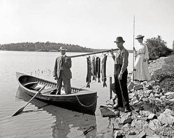Fishing in the Adirondacks, 1903. Vintage Photo Reproduction Poster Print. Black & White Photograph. Fisherman, Outdoors, New York.