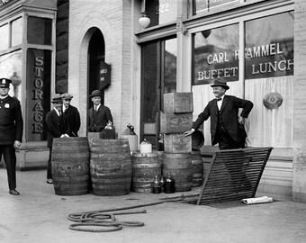 Bootleg Liquor Raid, 1923. Vintage Photo Reproduction Poster Print. Black & White Photograph. Prohibition, Speakeasy, 1920s, 20s.