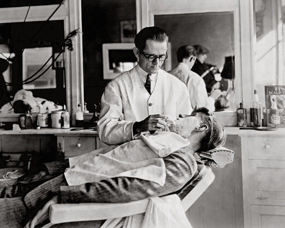 1920/'s America Vintage Barbershop /& Salon Poster A NEW YORK BARBERSHOP
