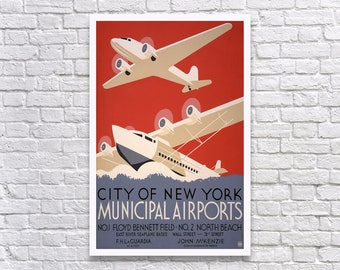 Municipal Airports, 1936. Vintage Poster Reproduction Print. New York, Airplane, Airline, Airport, Travel, WPA, 1930s, Retro, Poster Art.