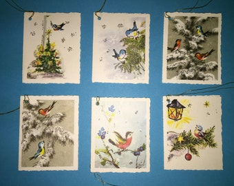 Vintage Holiday Gift Tags, Christmas Gift Tags, Package of 6