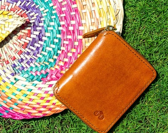 Tan Handmade Leather Zipper Wallet Coin Two-Tone Natural