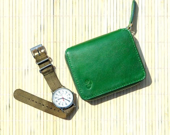 Green Handmade Leather Zipper Wallet Coin Two-Tone Natural