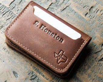 Personalized Texas Fine Leather Bifold Money Clip Wallet- Money Clips -Card Wallet -Men's Wallets The Gates-Gift for Him,Gifts for Grads