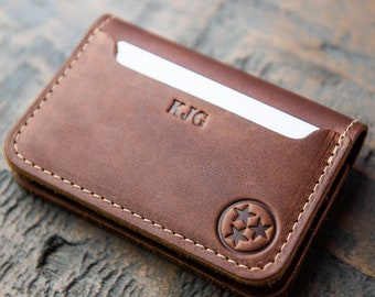 Personalized Tennessee Fine Leather Bifold Money Clip Wallet- Money Clips -Card Wallet -Men's Wallets The Gates-Gift for Him,Gifts for Grads