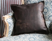 The Adelaide Rough And Ready American Bison Leather Pillow, Sofa pillows, handmade in USA, Rustic, wedding gift, house warming gifts