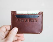 Personalized Groomsmen Gift Double Sleeve Mens Leather Front Pocket Wallet Gifts for Men, Gifts for Him - The Bradford