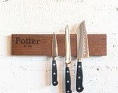Personalized Walnut Wood Magnetic Knife Block Rack Valentine's Day Gift