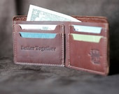 Personalized Fine Leather Bi-Fold bifold Wallet The Big Dixie Mens Brown Leather Wallets Gift for Men - Christmas Gift For Him