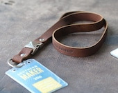 Personalized Fine Leather Lanyard - Badge Holder Id Holder -Detachable Buckle Clip- The Engineer - Father's Day Gifts for Him