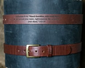 No. 202 Fine Leather Belt in Dark Brown – Personalized Custom Belt – with Secret Message – Square Brass Buckle - Christmas Gift For Him