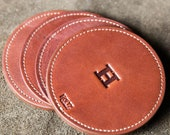Farm House Round Fine Leather Coaster Set of 4 // Groomsmen Gift, Gifts for Him, Gifts for Her, Gifts for Mom, Gifts for Grads