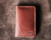 Personalized Groomsmen Fine Leather Business Card Holder Wallet BiFold - Groomsman Gift Gifts - The Vincent - Christmas Gift For Him