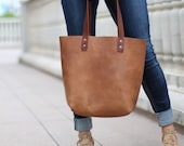 Personalized Fine Leather Tote Bag in Tan - Gift for Her, Gift for Wife, Gift for Daughter - The Ashley Tote - Christmas Gift For Her