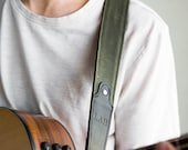 The Hill Fine Leather And Canvas Personalized Guitar Strap In Forest Green - Christmas Gift