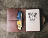 Personalized Fine Leather Field Notes Moleskine Wallet Brown Leather, Leather Journal, Journal Cover - The Logbook - Christmas Gift For Him