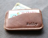 The Charleston Personalized Fine Leather Triple Sleeve Front Pocket Wallet, Small Billfold Wallets, Card Holder Wallet, Credit Card Wallet
