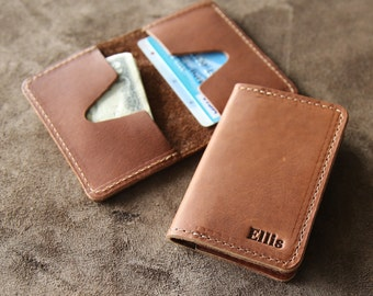 Personalized Groomsmen Fine Leather Business Card Holder Wallet BiFold - Groomsman Gift Gifts - The Vincent
