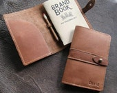 Personalized Leather Pocket Journal Cover Field Notes or Moleskine with Pencil Journal Sleeve - The Surveyor - Christmas Gift For Him