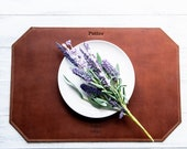 Beveled Edge Personalized Fine Leather Placemats