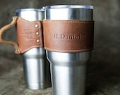 30oz Personalized Leather Drink Cooler Wrap with Handle in Tan for YETI Rambler Tumbler Tumblers -Gift for Her, Gifts for Mom, Gifts for Him
