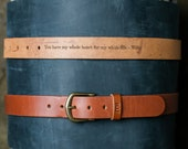 No. 102 Fine Leather Belt in Brown – Personalized Custom Belt, with Secret Message, Rounded Brass Buckle, Christmas Gift For Him