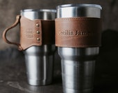 The Rocket City for 30 oz Yeti Personalized Leather Drink Cooler Wrap with Handle in Tan for YETI Rambler Tumbler Tumblers - Yeti Handle