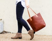 Personalized Fine Leather Tote Bag in Tan - Gift for Her, Gift for Mom, Gift for Wife - The Ashley Tote - Mother's Day Gift
