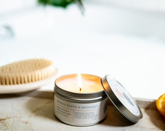 Please Leave a Message 6 oz Tin Cotton Wick Coconut Soy Wax Candle Volcano Candle Gift for Her Mothers Day Gift Friendship