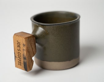 Personalized Handmade Coffee Cup with Whiskey Barrel Handle, Custom Pottery Mug, Mothers Day Gift, Gift for Him, Gift for Her - Bayou