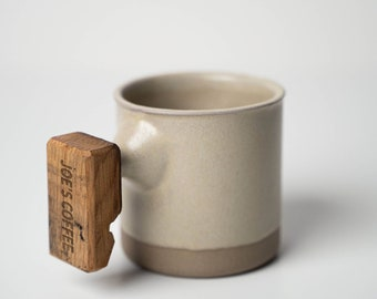 Personalized Handmade Coffee Cup with Whiskey Barrel Handle, Custom Pottery Mug, Mothers Day Gift, Gift for Him, Gift for Her - Dogwood