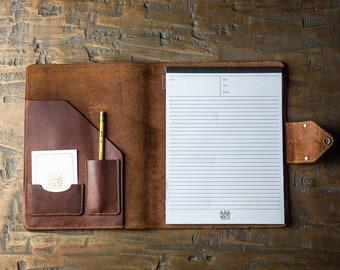 Padfolio Planner-Full Grain Fine Leather Journal-Customized Monogram-Graduation Gift-Stationary-Bridesmaid Gifts-The Vanderbilt