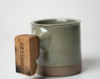 Personalized Handmade Coffee Cup with Whiskey Barrel Handle, Custom Pottery Mug, Mothers Day Gift, Gift for Him, Gift for Her - Sprout