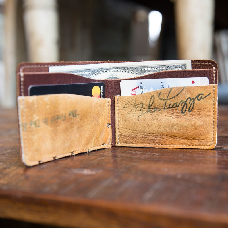 The Behemoth Of Bust Vintage Baseball Glove Bifold Wallet image 0