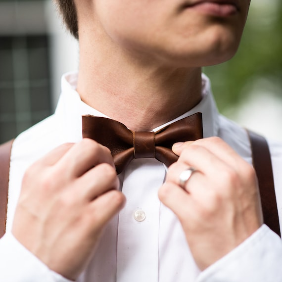 Groomsmen Wedding Leather Bow Tie Bowtie - Gifts for Him- Gifts for Husband - Wedding Party Gift Graduation Gift- The Mr. Baker