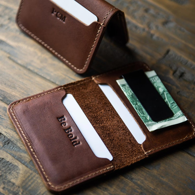 Personalized Fine Leather Bifold Money Clip Wallet Money image 0