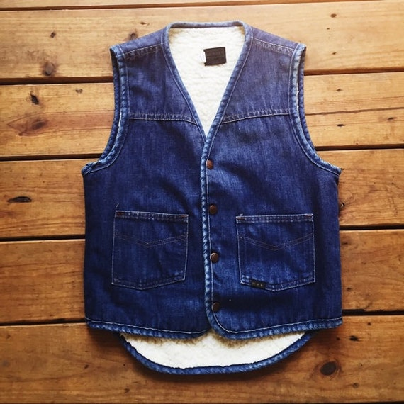 Sears Vintage Denim & Shearling Vest