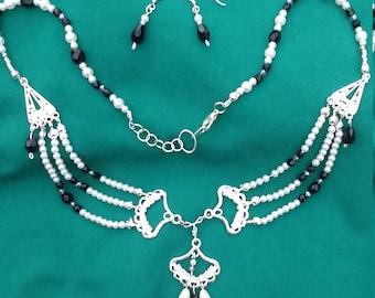 Onyx, Swarovski Crystal and Faux Pearl SET