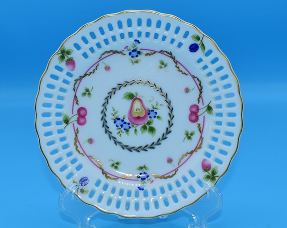 Maple White China Plate Vintage Bread & Butter Plate Lace Cut Border Gilded Pink Fruit Small Plate Gift for Her Wedding Decor Gift