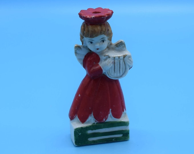 Featured listing image: Angel Taper Candle Holder Vintage Porcelain Painted Angel Playing Harp Skinny Candle Holder Christmas Angel Figurine Christmas Decor