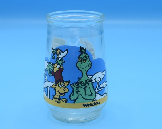 Welch's Grinch Juice Glass 1997 Vintage Dr. Seuss Grinch And Friends Jelly Jam Jar Welchs Collectible Glass Christmas Grinch Glass
