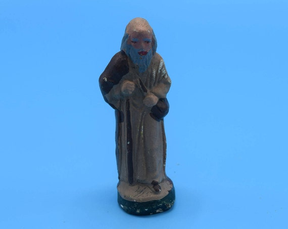 Chalkware Nativity Wise Men Figurine Vintage Miniature Chalk Ware Joseph Figurine Nativity Wisemen Joseph Christmas Nativity Replacement