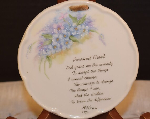 Personal Creed Hanging Plate Vintage Inspirational Wall Hanging Serenity Prayer Miniature Plate Daily Devotional Prayer Gift for Friend