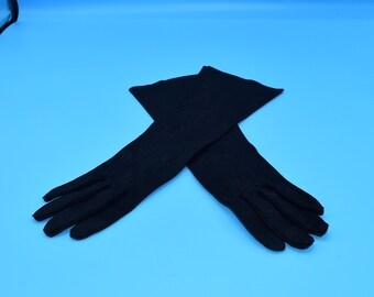 Grandoe Black Long Gloves Size 6 FREE SHIPPING Vintage Black Cotton Evening Formal Gloves Women's Opera Gloves Party Gloves Gift for Her