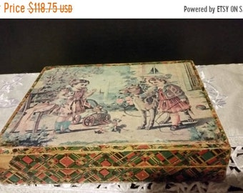Sale Clearance Victorian Children's litho blocks toy puzzle circa 1890s German Antique Vintage Lithograph Paper on Wood Child's Blocks in Or