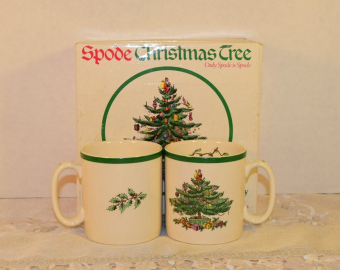 Featured listing image: Spode Mugs 2 & Box Vintage Tom and Jerry Mugs Pattern S3324 S Made in England Christmas Tree Mistletoe Cups Original Box Replacement China