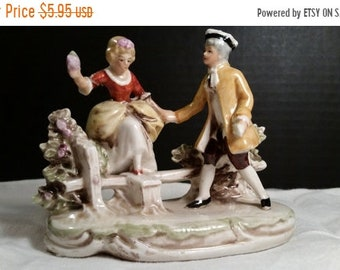 Sale Clearance Victorian Couple Figurine Vintage Hand Painted Kitsch Figurine Romantic Couple Ceramic Courting Victorian Couple Shabby Chic