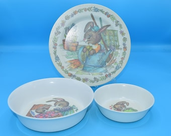 Oneida Deluxe 3119 Child Dish 3 Pieces Vintage Peter Rabbit Melmac Plate Bowl Snack Dish Set Gift for Child New Mom FREE SHIPPING