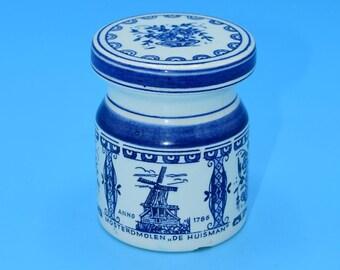 Delfts Blue and White Spice Jar Vintage Ceramic Peper Cork Lid Container Kitchen Jar Blue & White Decor Holland Dutch Jar FREE SHIPPING
